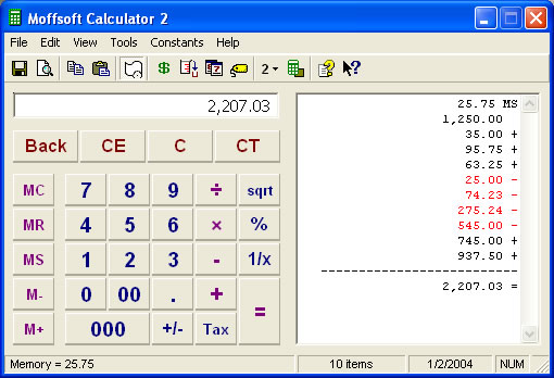 Moffsoft Calculator