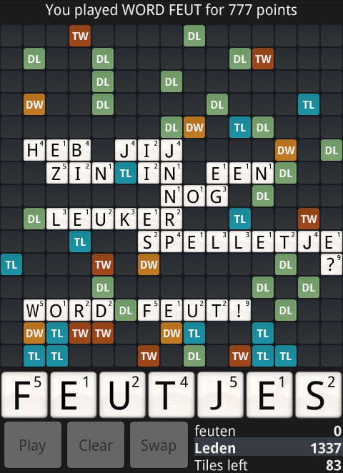Wordfeud For IPhone 2011